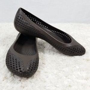 Womens Crocs Crosmesh Brown Ballet Flats Size 8